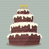 Birthday cake. Vector illustration of cute Birthday cake with three candles Royalty Free Stock Image