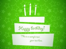 Birthday cake. Vector stylized green birthday cake card, EPS10 Royalty Free Stock Photography