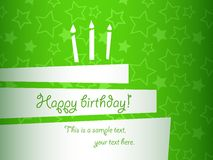 Birthday cake. Vector stylized green birthday cake card, EPS10 Royalty Free Stock Image