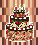 Birthday Cake Vector. On wood background Stock Images