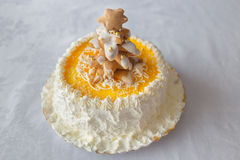 Birthday cake with whipped cream and biscuits Royalty Free Stock Image