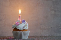 Birthday cake with whipped cream and flowers Royalty Free Stock Photos