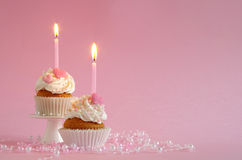 Birthday cake. With whipped cream and hearts Royalty Free Stock Photos