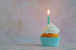 Birthday cake with whipped cream and sugar sprinkles Royalty Free Stock Images