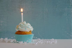 Birthday cake with whipped cream and sugar sprinkles Royalty Free Stock Photo