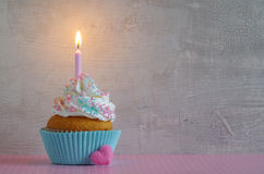 Birthday cake with whipped cream and sugar sprinkles Stock Images