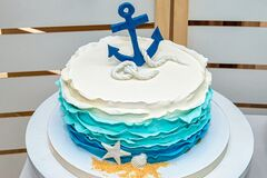 Miraculous Birthday Cake Whit Blue Anchor Stock Photo Image Of Colored Funny Birthday Cards Online Alyptdamsfinfo