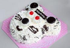Birthday Cake in white bear head shape on gray box background
