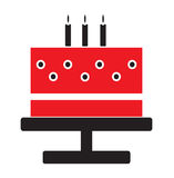 Birthday cake white candles icon vector. Isolated in white background Royalty Free Stock Image