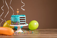 Free Birthday Cake With Balloons Stock Photography - 93060292
