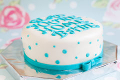 Birthday Cake With Mastic Text Royalty Free Stock Image