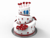 Birthday cake for 18 years. 3D render illustration of a birthday cake with the number 18 attached to the top of the cake. The composition is  on a white Stock Image