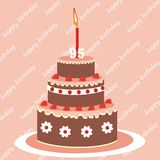 Birthday cake. 95 years, vector icon. Two-fruit fruit cake vector illustration