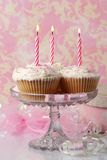 Birthday Cakes. Birthday cupcakes with soft fondant icing and candles Royalty Free Stock Images
