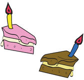 Birthday Cakes. Vector illustrations of slices of birthday cake-eps file available Stock Photo
