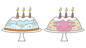 Birthday cakes Stock Images