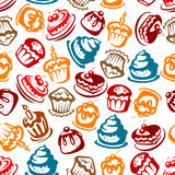 Birthday cakes with candles seamless pattern. Colorful seamless birthday cakes pattern for celebration party and festive backdrop design with bright sketches of Royalty Free Stock Photo