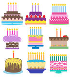 Birthday Cakes with Candles Series Stock Images