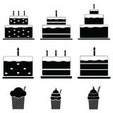 Birthday cakes icon set. Stock Photos