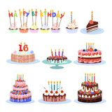 Birthday cakes set. Royalty Free Stock Images