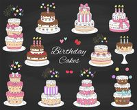 Birthday cakes set, vector hand drawn colorful doodle illustration. Stock Photos