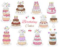 Birthday cakes set, vector hand drawn colorful doodle illustration. Stock Photo