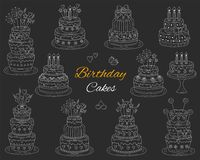Birthday cakes set, vector hand drawn doodle illustration. Royalty Free Stock Photo