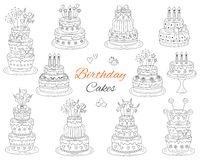 Birthday cakes set, vector hand drawn doodle illustration. Royalty Free Stock Image