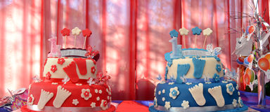 Birthday Cakes of Twins , brother and sister Stock Image