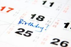 Birthday on calendar. Hand-writing on a calendar related to birthday Royalty Free Stock Image