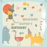 Birthday camel. Birthday card with cute monkey, zebra, camel, ostrich, hippo, butterflies, banners and balloon in cartoon style Royalty Free Stock Image