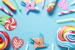 Birthday candies stock image