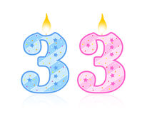 Birthday candle - 3 royalty free illustration