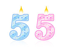 Birthday candle - 5. Cute pink and light blue number birthday candle - Five Royalty Free Stock Photos