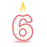 Birthday candle - 6. Cute number birthday candle - Six isolated on white background Stock Photo