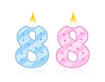 Birthday candle - 8. Cute pink and light blue number birthday candle - Eight Stock Photography
