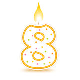 Birthday candle - 8. Cute number birthday candle - Eight isolated on white background Royalty Free Stock Photo