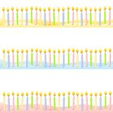 Birthday Candle Borders Banners. An illustration featuring your choice of 3 birthday candle borders or banners sitting in yellow, blue and pink icing as if on a Royalty Free Stock Photos