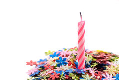 Birthday Candle with Confetti Royalty Free Stock Images
