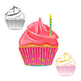 Birthday candle cupcake set Royalty Free Stock Image
