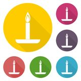 Birthday candle with long shadow set. Icon Stock Photography