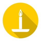 Birthday candle with long shadow. Vector icon Royalty Free Stock Images