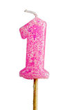 Birthday candle number 1 Royalty Free Stock Photo