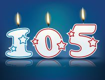 Birthday candle number 105. With flame - eps 10 vector illustration stock illustration