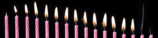 Birthday Candle Time Lapse Stock Images
