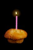 Birthday Cupcake and Candle Royalty Free Stock Photos