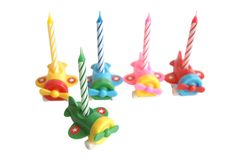 Birthday candles. Isolated on a white background Stock Photos