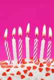 Birthday candles. On pink background Stock Photo
