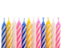 Birthday Candles. Colorful birthday Candles on isolated background Royalty Free Stock Photos