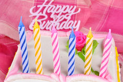 Birthday candles. Colorful birthday candles on pink background Royalty Free Stock Photography